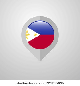 Map Navigation pointer with Phillipines flag design vector