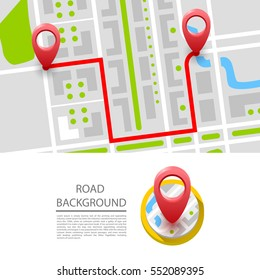 Map with navigation. Vector illustration