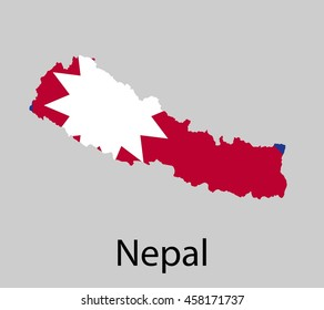 Map of Nepal with flag. Vector illustration.