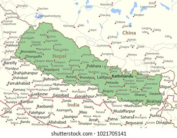 Map of Nepal. Shows country borders, urban areas, place names and roads. Labels in English where possible.Projection: Mercator.