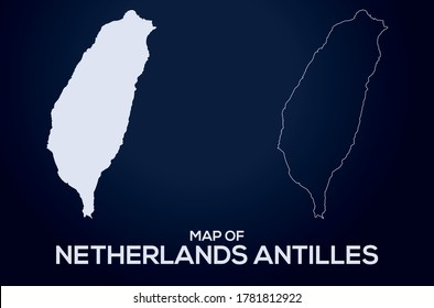 Map of  Netherlands Antilles vector silhouette isolated.Abstract design, High detailed silhouette illustration. Full Editable Netherlands Antilles map vector file.