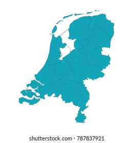 Map of Netherlands - Blue Geometric Rumpled Triangular , Polygonal Design For Your . High detailed vector map - netherlands. Vector illustration eps 10.