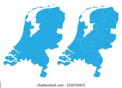 Map - Netherlands Couple Set , Map of Netherlands,Vector illustration eps 10.
