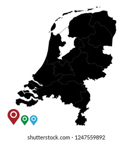 Map of Netherlands, High Detailed Map of Netherlands isolated on white background.Vector illustration eps 10