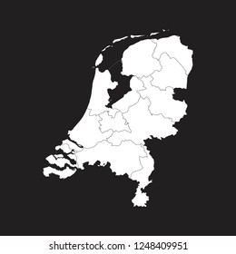 Map of Netherlands - High detailed on black background. Abstract design vector illustration eps 10.
