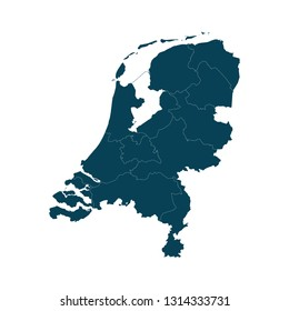 Map of Netherlands - High detailed on white background. Abstract design vector illustration eps 10.