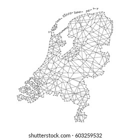 Map of Netherlands from polygonal black lines and dots of vector illustration