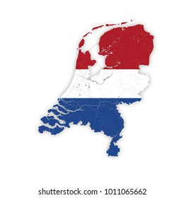 Map of Netherlands with rivers in colors of national flags. Please look at my other images of cartographic series - they are all very detailed and carefully drawn by hand WITH RIVERS AND LAKES.