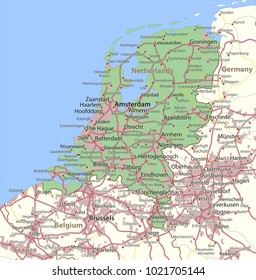 Map of Netherlands. Shows country borders, urban areas, place names and roads. Labels in English where possible.Projection: Spherical Mercator.