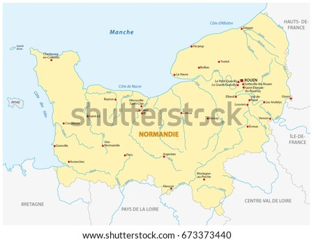 Map Of France In French Language.Map New French Region Normandy French Stock Vector Royalty Free