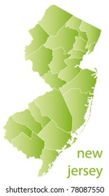 map of new jersey state, usa