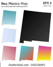 Map of New Mexico with beautiful gradients. Beauteous set of us state maps. Trending vector illustration.