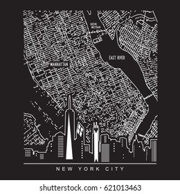 New York Map Black And White.New York City Map Images Stock Photos Vectors Shutterstock