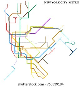 Map of New York City metro, Subway, Template of city transportation scheme for underground road. Vector illustration