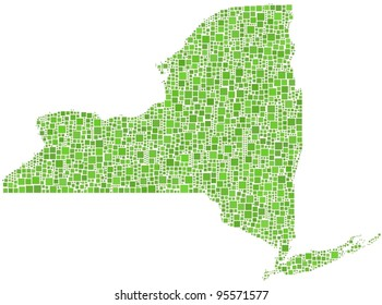 Map of New York State (USA) in a mosaic of green squares
