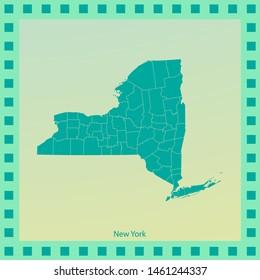 map of New york. vector illustration