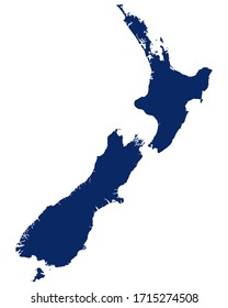 Map of New Zealand in blue colour