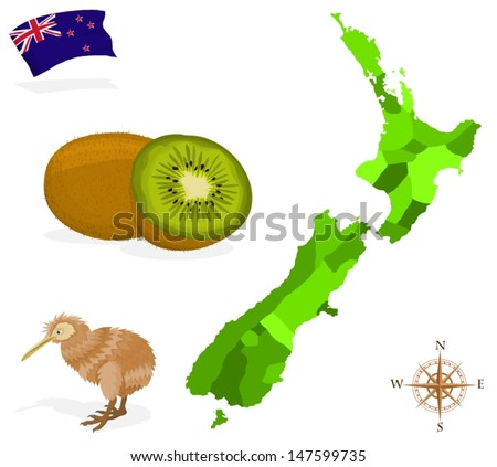 New Zealand Provinces Map.Map New Zealand Provinces Regions Stock Vector Royalty Free