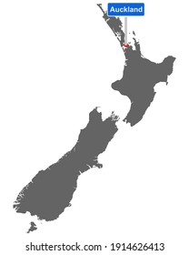 Map of New Zealand with road sign Auckland