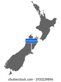 Map of New Zealand with road sign Christchurch