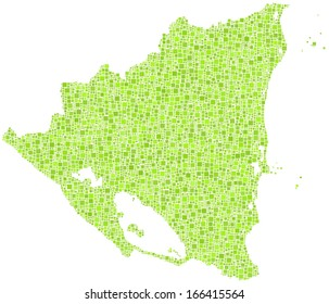 Map of Nicaragua - America - in a mosaic of green squares. A number of 6444 little squares are accurately inserted into the mosaic. White background.