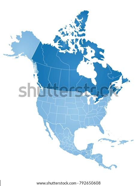 Pohjois Amerikan Kartta Arkistovektori Rojaltivapaa 792650608