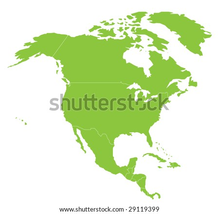 Map North America North American Continent Stock Vector Royalty