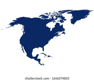 Map of North America in blue colour