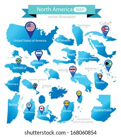 Map of North America. Country. flag pointer. vector Illustration.