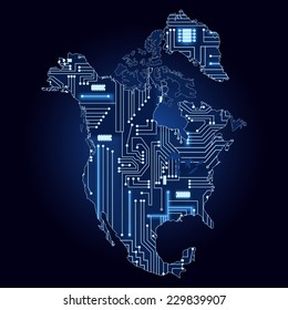 Map of North America with electronic circuit. Contour map of North America with a technological electronics circuit.