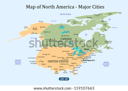 Map North America Major Cities Vector Stock Vector (Royalty Free ...