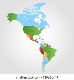 Map of north america and south america.