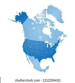 Map of North America, USA, Canada, Mexico and Greenland