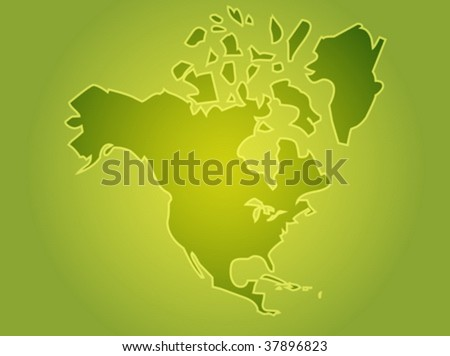 Map North American Continent Usa Canada Stock Vector Royalty Free
