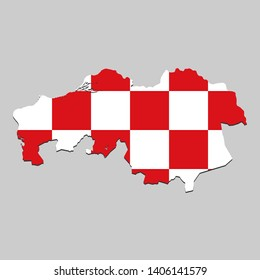 Map of North Brabant is a state Netherlands with flag. Vector Illustration