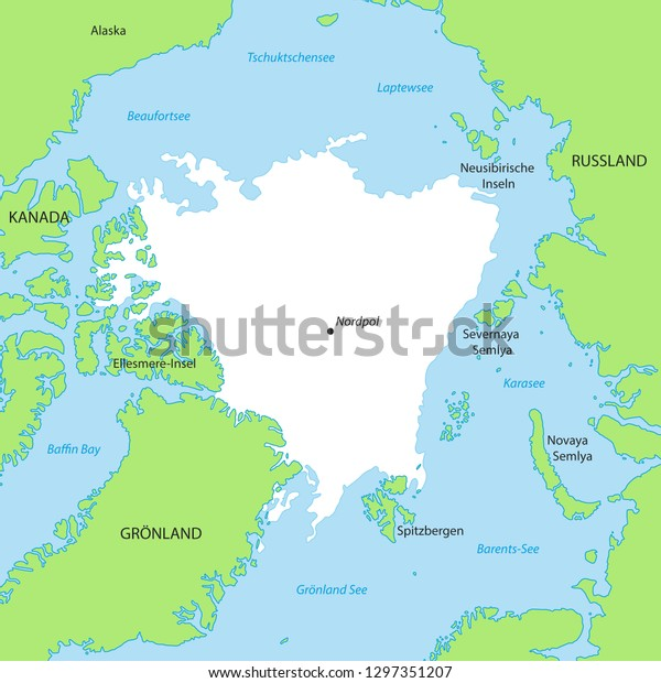 Map North Pole German Inscription Stock Vector (Royalty Free ...