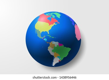 Map of North and South America (world). A vector image of a global map in the shape of countries of the world consisting of points, shapes and space. Easy to edit