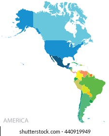 Map of north and south Americas