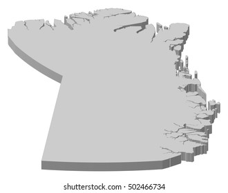 Map - Northeast Greenland National Park (Greenland) - 3D-Illustration