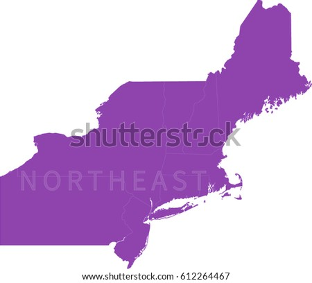 Map Northeastern US Stock Vector (Royalty Free) 612264467 - Shutterstock