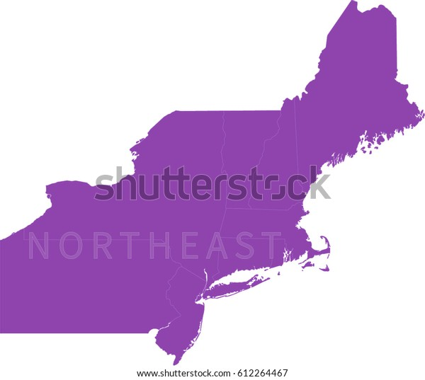 Map Northeastern Us Stock Vector (Royalty Free) 612264467