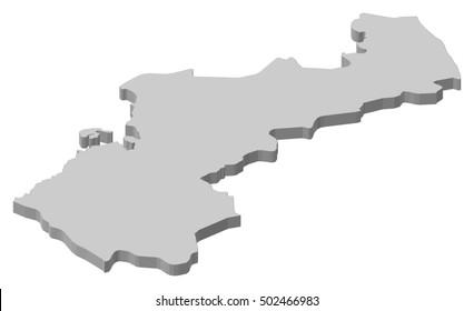Map - Northern Ostrobothnia (Finland) - 3D-Illustration