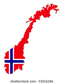 map of Norway filled with flag of the state