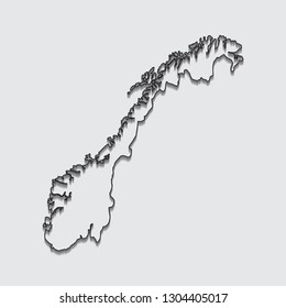 Map of Norway with shadow on gray background.eps10