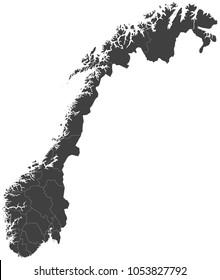 Map of Norway split into regions