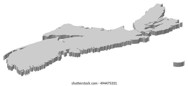 Map - Nova Scotia (Canada) - 3D-Illustration