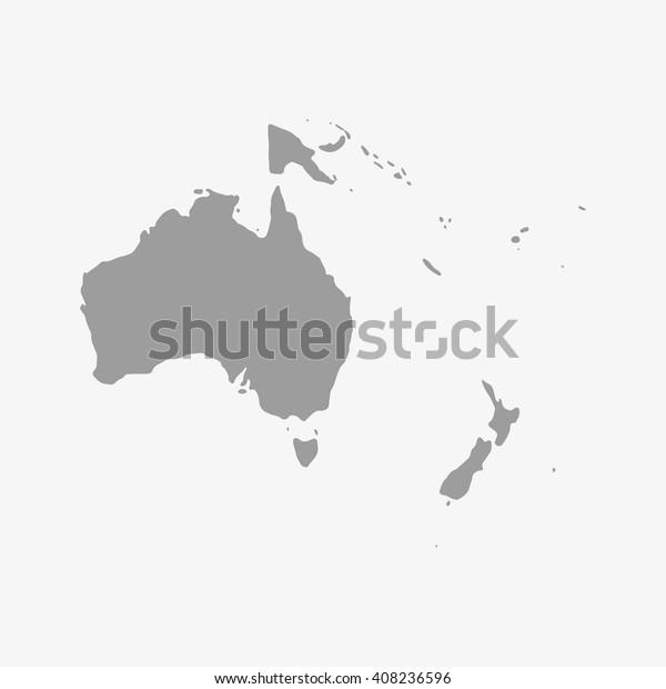 大洋洲地图灰色在白色背景上库存矢量图 免版税 408236596