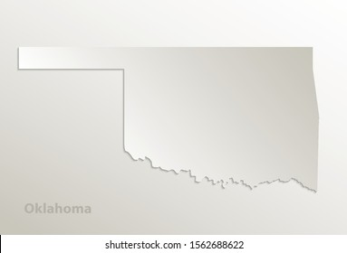 Map of Oklahoma on natural paper, state of the United States of America, 3D design vector