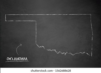 Map of Oklahoma, state of the United States of America, vector design card blackboard chalkboard