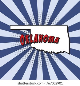 map of oklahoma u.s. state in pop art style with dotted shadows and radial lines in shape of rays
